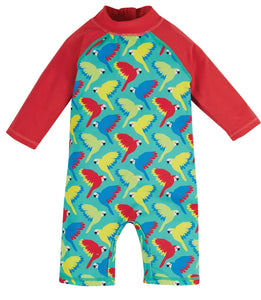 Frugi Little Sun Safe Suit - Aqua Parrots