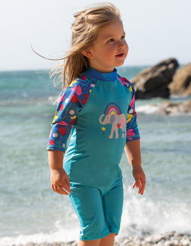 Frugi Little Sun Safe Suit -  Pacific Aqua/ Elephant
