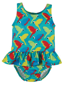 Frugi Newlyn Nappy Swimsuit - Aqua Parrots