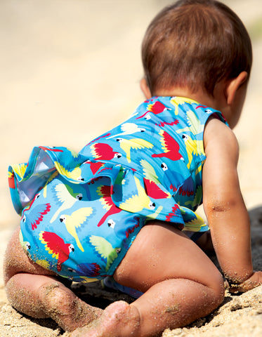 Image of Frugi Newlyn Nappy Swimsuit - Aqua Parrots