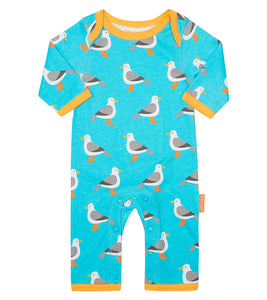 Toby Tiger Seagull Print Sleepsuit - Organic Cotton