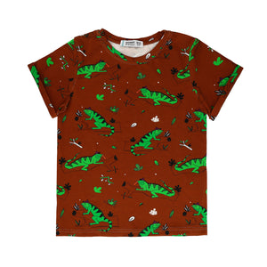 Raspberry Republic T-shirt - Ignacio the Iguana Brown
