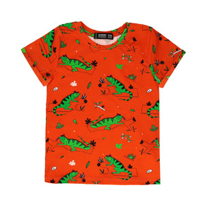 Raspberry Republic T-shirt - Ignacio the Iguana Red