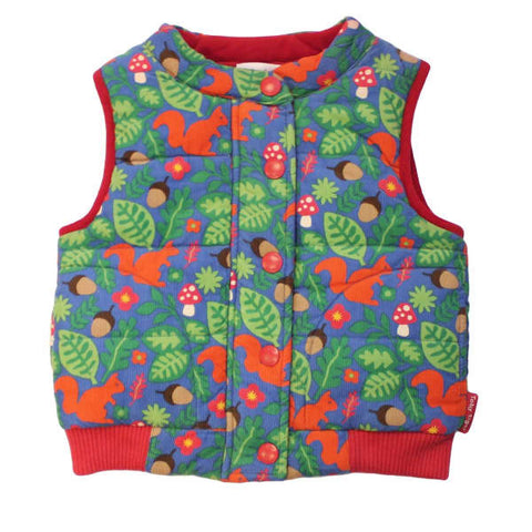Toby Tiger Squirrel Print Cord Gilet - Reversible