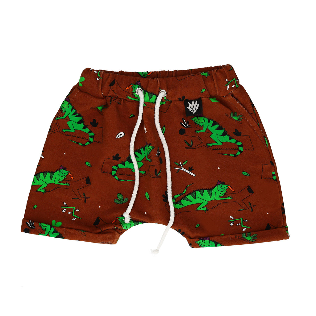 Raspberry Republic Sweat Shorts -  Ignacio the Iguana Brown
