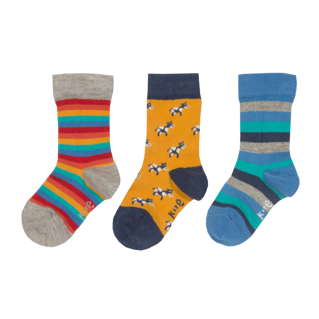 Kite 3 Pack Moo Socks - Organic Cotton