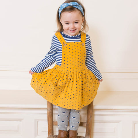 Kite Polka heart pinafore - Organic Cotton