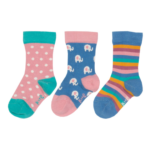 Image of Kite 3 pack elephant socks - Organic Cotton