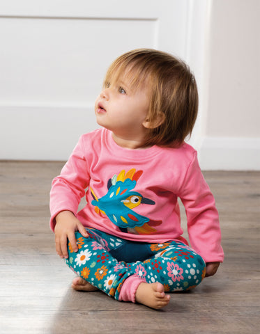 Frugi Little Knitted Leggings - Loch Blue/Flowers