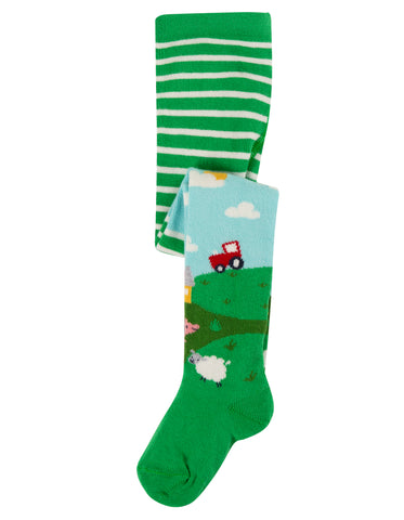 Frugi Little Norah Tights - Scots Pine/Scene