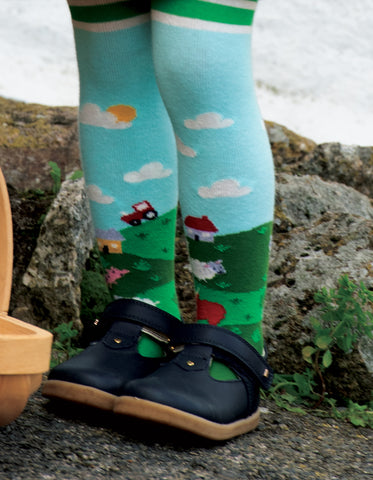 Image of Frugi Little Norah Tights - Scots Pine/Scene