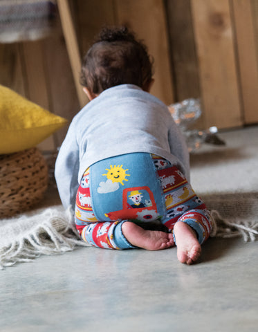 Image of Frugi Little Knitted Leggings - Tractor Fairisle