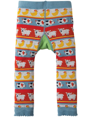 Frugi Little Knitted Leggings - Tractor Fairisle - Organic Cotton