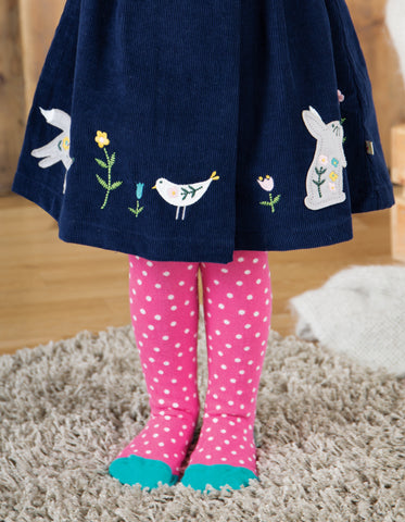 Frugi Tamsyn Tights - Flamingo Polka Dot