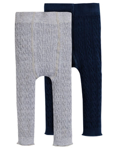 Frugi Cosy Cable Leggings 2pk - Grey Marl/Space Blue - Tilly & Jasper