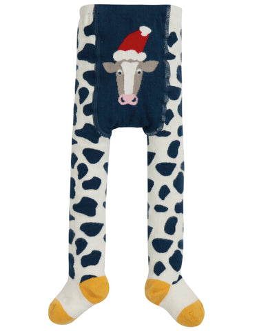 Frugi Crawl Away Tights - Space Blue/Cow - Tilly & Jasper