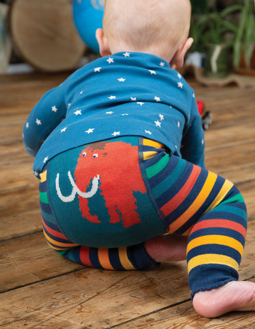 Image of Frugi Little Knitted Leggings - Rainbow Stripe/Mammoth - Tilly & Jasper