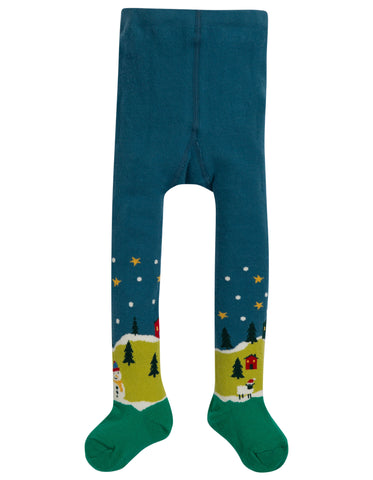 Image of Frugi Little Norah Tights - Steely Blue/Festive Fields