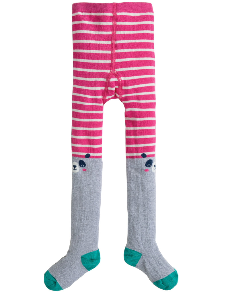 Frugi Fun Knee Tights - Flamingo Stripe/Panda - Tilly & Jasper