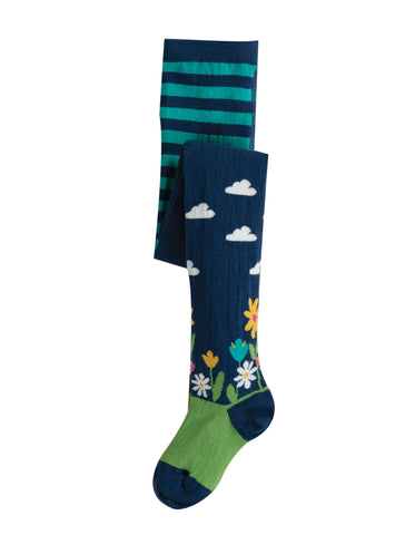 Image of Frugi Norah Tights - Space Blue/Flower Garden