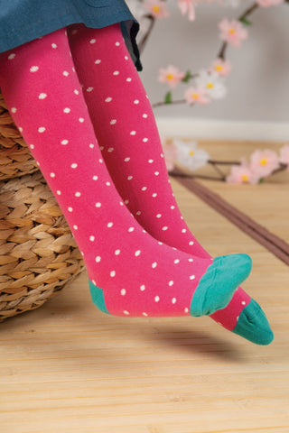 Frugi Tamsyn Tights - Flamingo Dot
