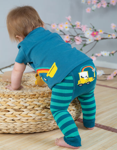 Image of Frugi Little Knitted Leggings - Pacific Aqua/Tractor