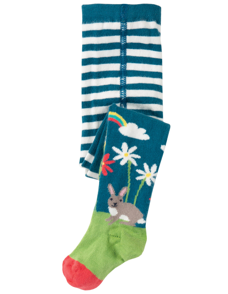 Frugi Little Norah Tights - Steely Blue/Deer