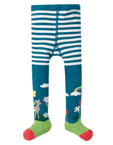 Image of Frugi Little Norah Tights - Steely Blue/Deer