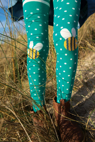 Frugi Fun Knee Tights - Jewel Spot/Bee