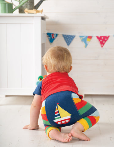 Image of Frugi Little Knitted Leggings - Multi Rainbow Stripe / Boat