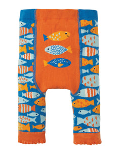 Frugi Little Knitted Leggings - Sail Blue Fish