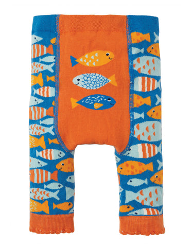 Image of Frugi Little Knitted Leggings - Sail Blue Fish - Tilly & Jasper