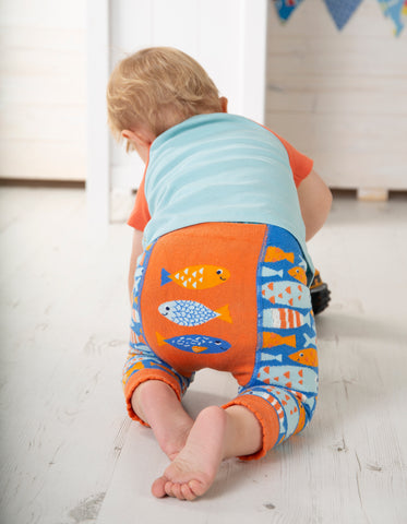 Image of Frugi Little Knitted Leggings - Sail Blue Fish