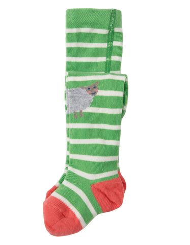 Frugi Little Fun Knee Tights - Soft Green Stripe / Sheep