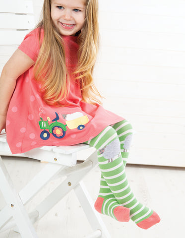 Image of Frugi Little Fun Knee Tights - Soft Green Stripe / Sheep - Tilly & Jasper