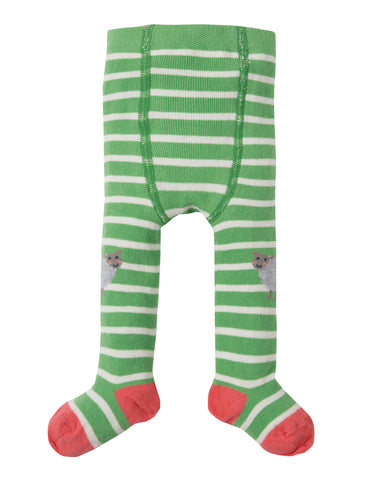 Frugi Little Fun Knee Tights - Soft Green Stripe / Sheep - Tilly & Jasper