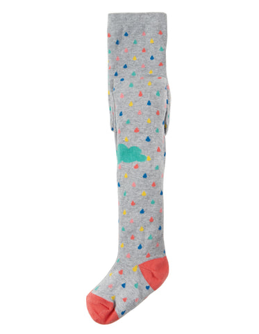 Image of Frugi Fun Knee Tights - Grey Marl Raindrops/Clouds - Tilly & Jasper