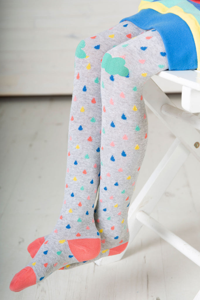 Frugi Fun Knee Tights - Grey Marl Raindrops/Clouds - Tilly & Jasper