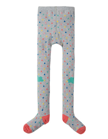Image of Frugi Fun Knee Tights - Grey Marl Raindrops/Clouds