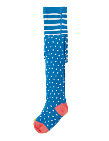 Frugi Norah Tights - Sail Blue Polka Dot