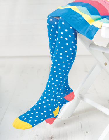 Image of Frugi Norah Tights - Sail Blue Polka Dot