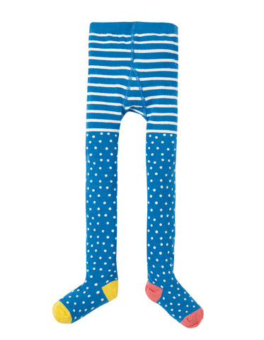 Image of Frugi Norah Tights - Sail Blue Polka Dot - Tilly & Jasper