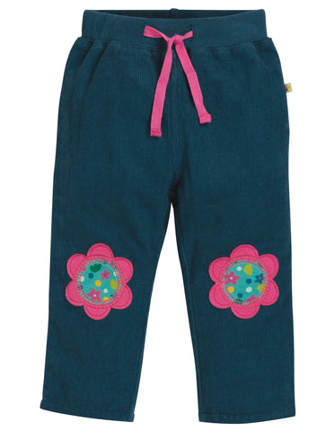Frugi Little Cord Patch Trousers - Space Blue/Flower - Tilly & Jasper