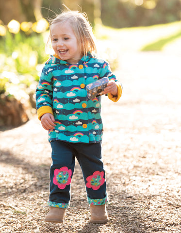 Frugi Little Cord Patch Trousers - Space Blue/Flower