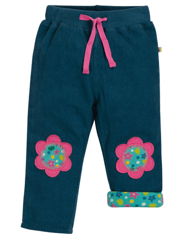 Image of Frugi Little Cord Patch Trousers - Space Blue/Flower - Tilly & Jasper