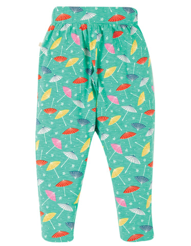 Frugi Gabriella Gathered Trousers - Pacific Aqua Parasols