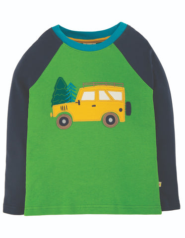 Image of Frugi Alfie Raglan Top - Glen Green/Truck
