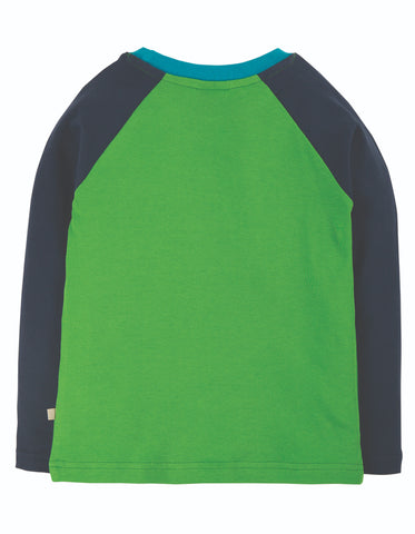 Frugi Alfie Raglan Top - Glen Green/Truck