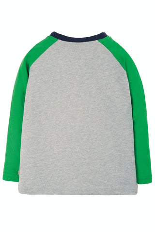 Image of Frugi Alfie Raglan Top - Grey Marl/Yeti