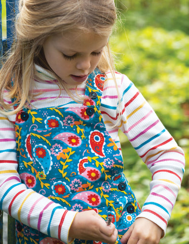 Frugi Ava Stripe Roll Neck - Ginger Rainbow Breton